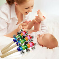 Rainbow Musical Instrument Baby Kid Toy Wooden Hand Jingle Ring Bell Rattle Gift