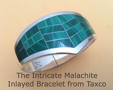 Silver Bracelet Very High Quality Taxco 925 Intricate Inlayed African Malachite
