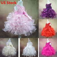 Baby Flower Girl Dress Party Wedding Jr.Bridesmaid Birthday Formal Tutu Dresses
