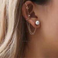 Punk Rock Chain Tassel Dangle Ear Cuff Wrap Earring Gold Color Earrings CB