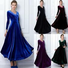 Women Lady V-Neck Velvet Party Formal Evening Maxi Long Dress Cocktail Prom Gown