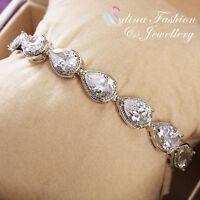 18K White Gold Filled Cubic Zirconia Lovers Teardrop Silver Tennis Bracelet