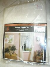 """Vintage BEACON LOOMS 5-Piece Curtain Valance Lace Set  80 x 63"""" Made in USA NEW"""