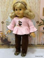 """4pc 18"""" AMERICAN GIRL Doll Clothes SET Brown PANTS Pink CAT TOP BOOTS & HEADBAND"""