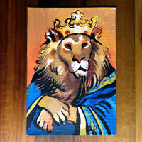 Original painting ACEO hand painted OOAK signed classic art ライオン lion