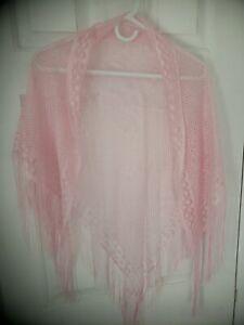 Vintage ~ Pink ~ Boho  Shawl  Scarf Fringe Sheer
