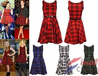 Ladies Red Tartan Sexy Skater Dress Ladies Check Belted Party Dress Size 6-26
