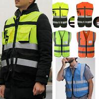 Mens Fluorescent Hi Vis High Viz Visibility Vest Waistcoat Safety Multi-Pockets