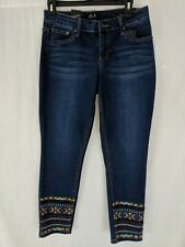 Earl Jeans Petite Aztec Jean 10P Skinny Ankle Embroidery Dark Wash Distress