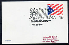 1992 Special `Station` cancel. 19c Card. `Olympic Spirit, City of Industry, CA`
