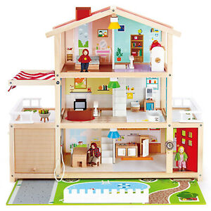 Hape Wooden 10 Room Play Dollhouse w/Accessories for Ages 3 & Up (For Parts)