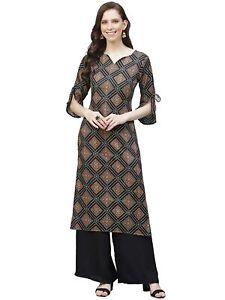 Indian Women Black & Brown Bandhani Print Straight Kurta Top Tunic Ethinc Dress