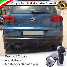 COPPIA TERMINALE SCARICO CROMATO LUCIDO ACCAIO INOX VW TIGUAN 5N SCARICO DOPPIO