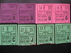 Eight 1950 Detroit Toronto Hockey Playoff Olympia Arena Ticket Stubs