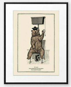 Funny Vintage Surreal Bear Bathroom Toilet Wall Art Print Old Illustration