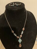 earring necklace set Turquoise Brown Silver