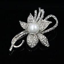 Strass Perle Blume Anstecknadel Weiß Perlen Kunstvolle Blumen Strass Broschen