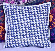 Hand Block Print Pillow Case Ikat Decorative Throw Floor Indian Cushion Cover