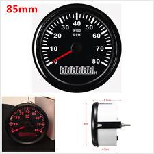 85mm Universal Car Marine Tachometer Gauge LCD Tacho HourMeter 12/24V 0-8000 RPM