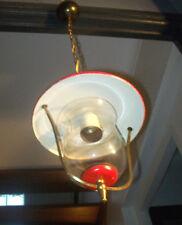 VINTAGE SUSPENSION LAMPE rouge DESIGN 50 60 TôLE lanterne VERRE moderniste