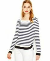 New Womens Maison Jules Long Sleeve Striped Knit Top Pullover Sweater Navy S