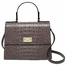 Kate Spade DORIS Orchard Valley Croco Leather Shoulder Bag Cliff Grey Nwt $448