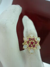 14K  OPAL & RUBY GOLD COCKTAIL RING...3.3 GRAMS....RING SIZE 6.5.
