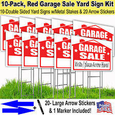 10 Pack 'GARAGE SALE' 18x24 Yard / Lawn Sign Kits