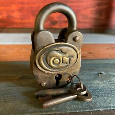 Colt Firearms Cast Iron Lock, Padlock, Brass Tag Colt Logo, Antique Finish