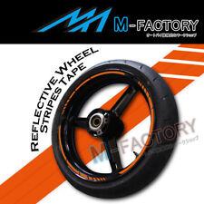 "Orange Reflective Rim Wheel Stripe Stickers For 17"" Honda CBR Yamaha R1 R6 KTM"