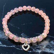 Silver Heart and Rose Quartz Natural Gemstone Beaded Bracelet
