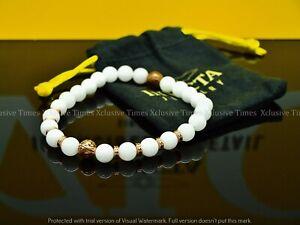 INVICTA ELEMENTS Genuine WHITE AGATE Gemstone Beaded Bracelet RoseTone (LARGE)