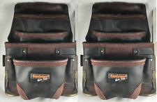 2 PACK Carpenter Tool bag OIL TAN LEATHER 10 pocket waist belt handyman pouch