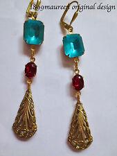 Art Deco Art Nouveau earrings turquoise blue red vintage Edwardian style long