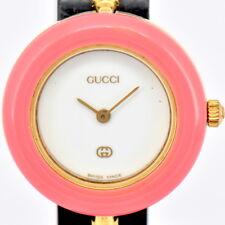 Auth Gucci Change Bezel 1100L GP White Dial Quartz Women's Watch N#76579