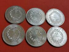 Lot 6 pièces argent 50 Francs Hercule an 1974 / 75 / 76 / 77 / 78 / 79 Lot n° 21