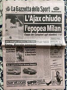 Gazzetta Dello Sport 25 Maggio 1995.L'Ajax Chiude L'epopea Milan,Ajax-Milan 1-0