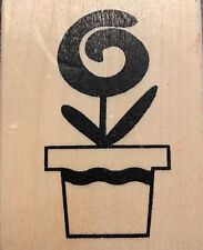 Wood Mounted Rubber Stamp - Spring Flower in Pot