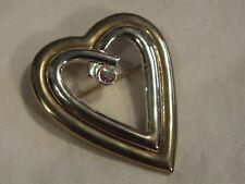 "Beautiful Brooch Pin Gold Silver Tone Heart AB Rhinestone 2 x 1 5/8"" CUTE"