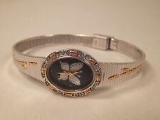 Vintage Helbros Ladies Watch Silver & Gold Tone w/ Mother Pearl Butterfly
