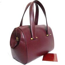 Auth Vintage Must de Cartier Bordeaux Leather Hand Bag Purse Made Spain