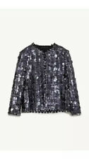 AUTHENTIC ZARA WOMAN SILVER SEQUIN JACKET BLAZER BLOGGERS SIZE LARGE, L