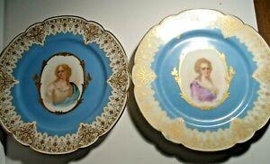 Pair of Antique Sevres Portrait Plates, Signed DeBrie, 1846