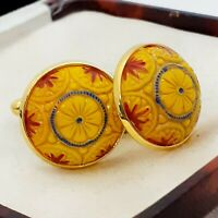 Vintage Preciosa Yellow Orange Mosaic Glass - Large Round Goldtone Cufflinks