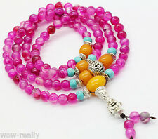 Tibetan Buddhist 108 pink agate Stone Mala Necklace/Bracelet/Prayer Beads