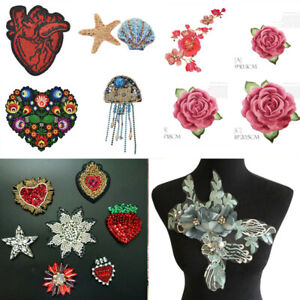 Flower Rhinestone Embroidered Clothing Patches Fabric DIY Dress Sewing Applique