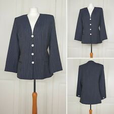 WINDSMOOR Navy Pinstripe Suit /Blazer /Smart Jacket Size 14 16 Wool Blogger