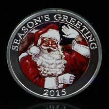 Silver Plated Merry Christmas Santa Claus Commemorative Coin Collection NEW