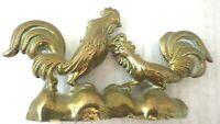 solid Vintage Brass Cockerels Ornament Paperweight rare brass birds 14.5 x 8.5cm