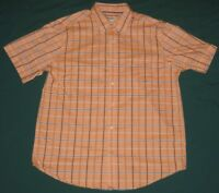St. John's Bay Short Sleeve SS Button Front Shirt Mens L Large Plaids & Checks